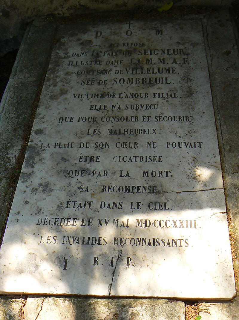 The Grave of Mademoiselle de Sombreuil in Avignon