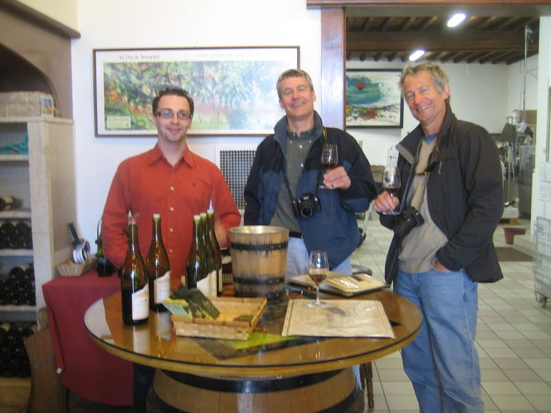 Mike & Dave DeMoney wine tasting with the Vigneron (on the left) in Santenay in Burgundy