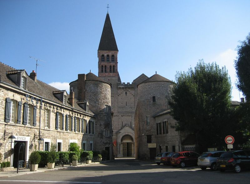 The lovely village of Tournus with the Abbey of Saint Philibert at center stage