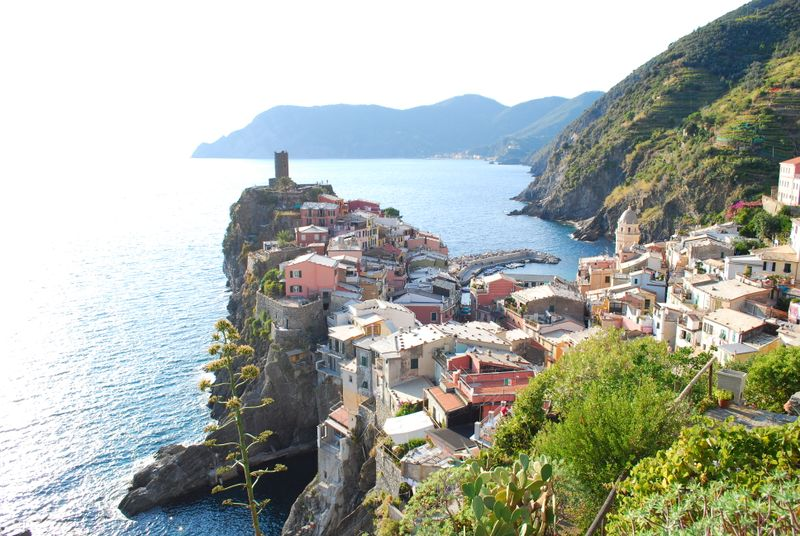 Looking back at the village of Vernazza as we head to Corniglia on the hiking trail [Photo by Michael DeMoney]