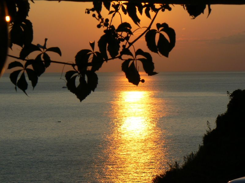 The sun is just beginning its descent at 6:46pm on September 24, 2008 in Corniglia in the Cinque Terre [Photo by David DeMoney]