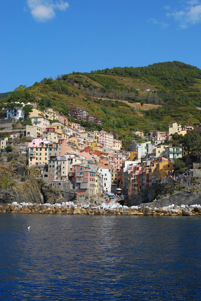 Riomaggiore from the boat to Portovenere [Photo by Michael DeMoney]