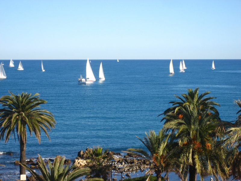 Winter view of the Baie des Anges in the Mediterranean from our terrace in Antibes