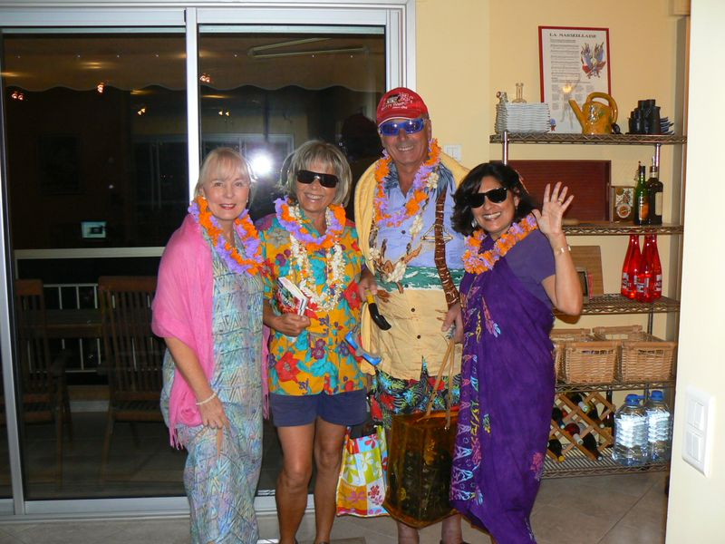 Joy, Monique, François, & Charlotte at an Antibois-style Hawaiian Luau in January