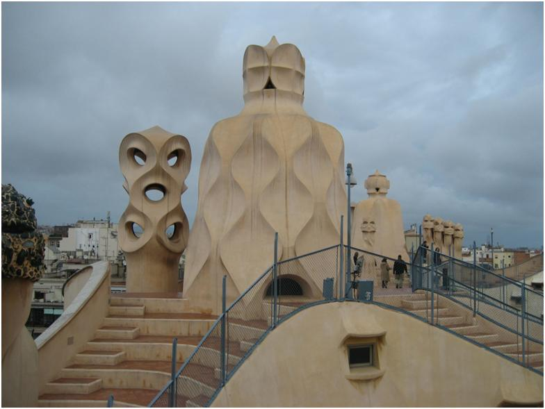 Rooftop of Gaudí's Casa Milà, also known as La Pedrera