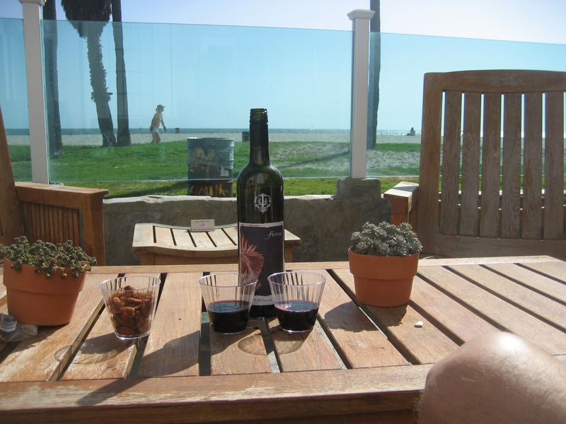 An apéritif on the terrace of the Venice on the Beach Hotel