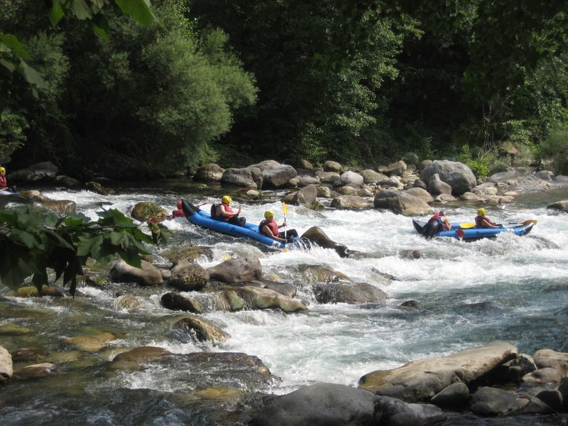 Kayakers on the Roya River in Breil-sur-Roya