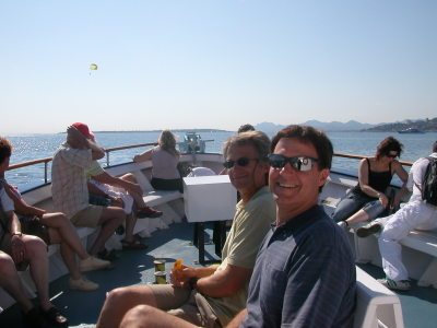 Dave & Mike cruising to Île Sainte-Marguerite from Juan-les-Pins