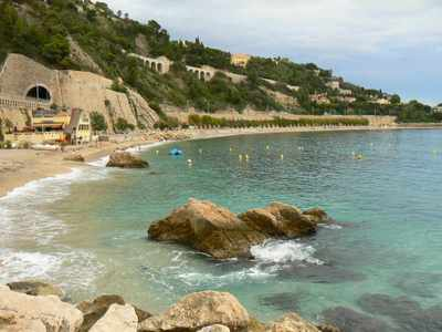 The beach in Villefranche-sur-Mer