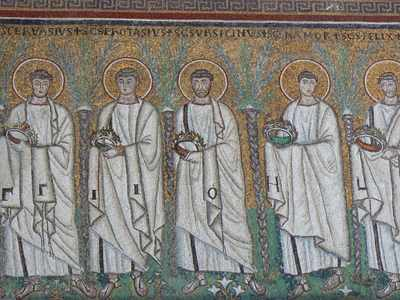A Mosaic of a Procession of Martyrs in S. Apollinare Nuovo in Ravenna
