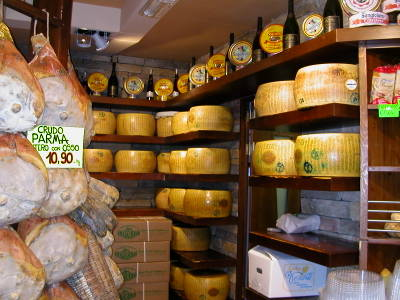 Giant Rounds of Parmigiano Reggiano in the City of Parma