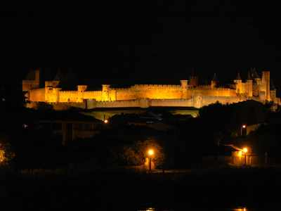 The illuminated Cité of Carcassonne