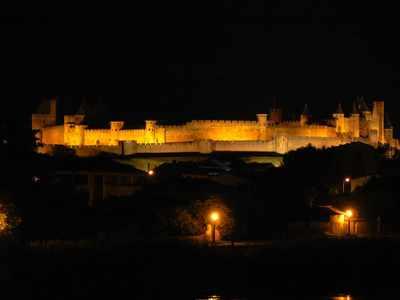 The illuminated Cité of Carcassonne