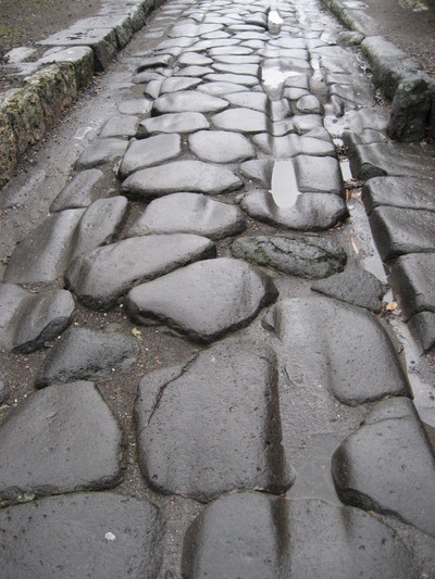 Chariot Ruts on a Roman Road in Pompeii