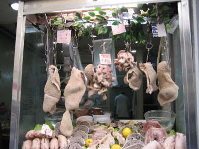 A store selling different forms of Tripe in Naples