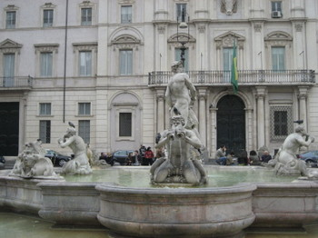 Fontana del Moro (Fountain of the Moor) in Piazza Navona in Rome