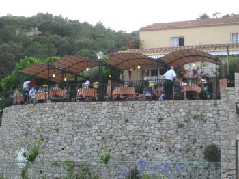 The Terrace of  Restaurant L'Ecurie du Castellas in Ramatuelle