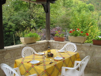 The Terrace of Chez Colby in St-Martin-de-Vers in the Lot Valley