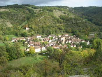 A Rooftop View of St-Martin-de-Vers from the Hills just above