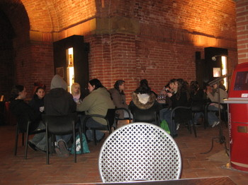 Young students learning to appreciate wine at Enoteca Italiana in Siena