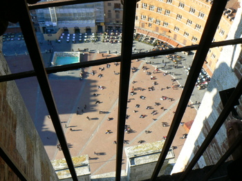 Piazza Il Campo from atop the Torre del Mangia