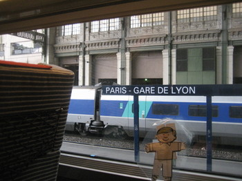 Flat Stanley arrives into Paris from Antibes on the TGV /></a>   <br /> </span></p>  <p><span style=