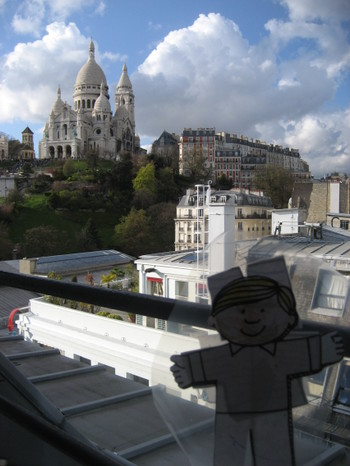 Flat Stanley's view from the Livingstone Penthouse in Paris