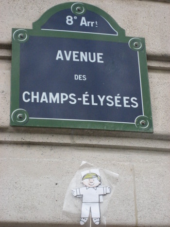 Flat Stanley strolling along the Grand Boulevards of Paris