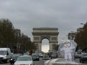 Flat Stanley tours the Arc de Triomphe in Paris