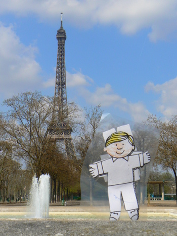 Flat Stanley tours the Eiffel Tower in Paris