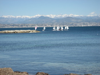 The snow-capped Alpes-Maritimes from Cap d'Antibes in March