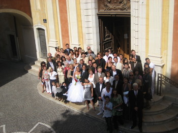 The Julie & Rico Wedding Party in front of the Antibes Cathedral