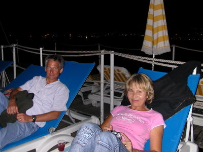 Dave & Monique on the Ponton at Plage Royale in Cannes