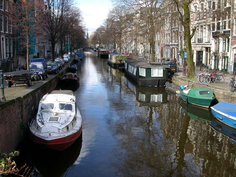 Morning stroll along an Amsterdam canal