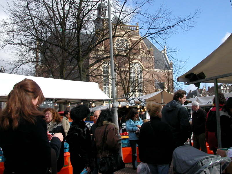 The Monday morning Noordermarkt in front of the Noorderkerk (North Church) in Amsterdam