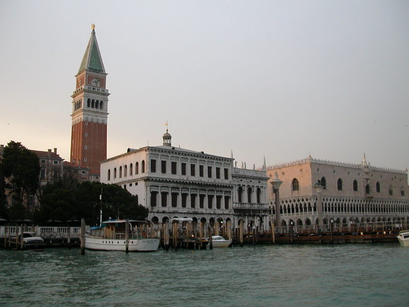 Torre dell'Orologio (Clock Tower) with Palazzo Ducale on the far right