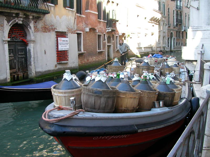 Morning wine delivery in Venice