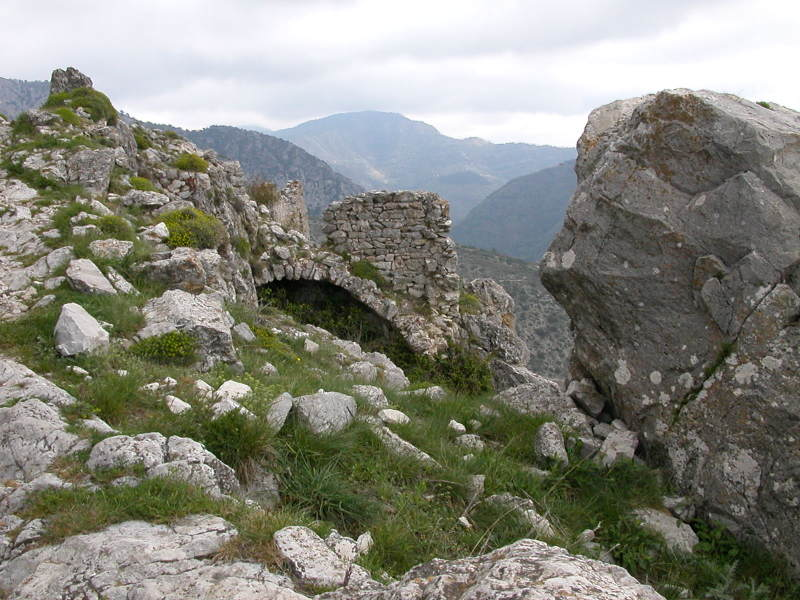 The abandoned ruins of the village of Rocca-Sparvièra