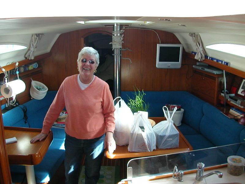 Pat Mikkelsen aboard her Jeanneau Sun Oddysey 37 in Lido di Ostia