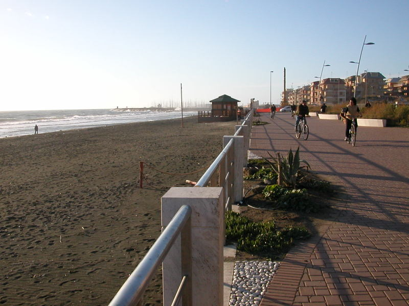 Dark, sandy beach in Lido di Ostia, just outside of Rome