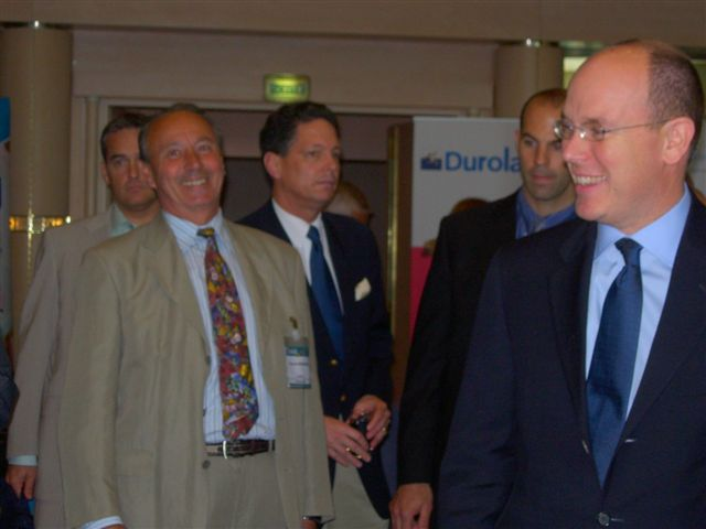 François Widemann and Prince Albert II share a joke [Photo by Monique Widemann]