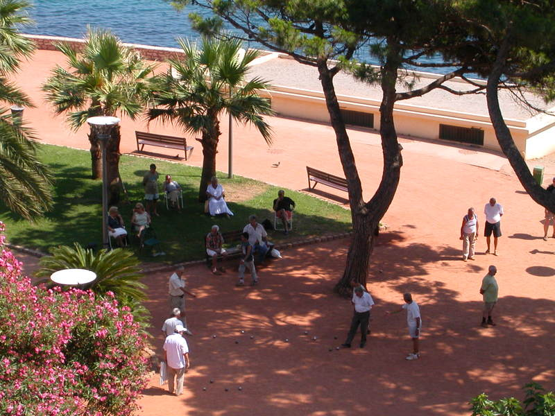 The Usual Suspects playing Pétanque in Square Albert 1er, out in front of our apartment here in Antibes, France