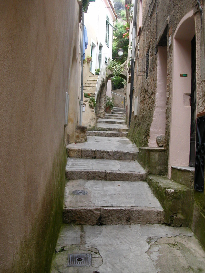 Narrow street in the hilltop village of Roquebrune
